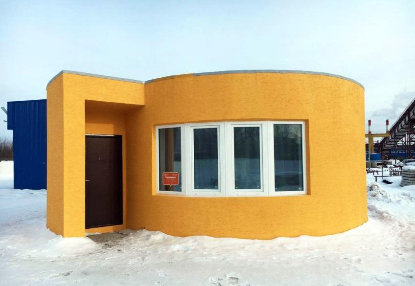 Пример дома, напечатанного в Сколково принтером производства Apis Cor