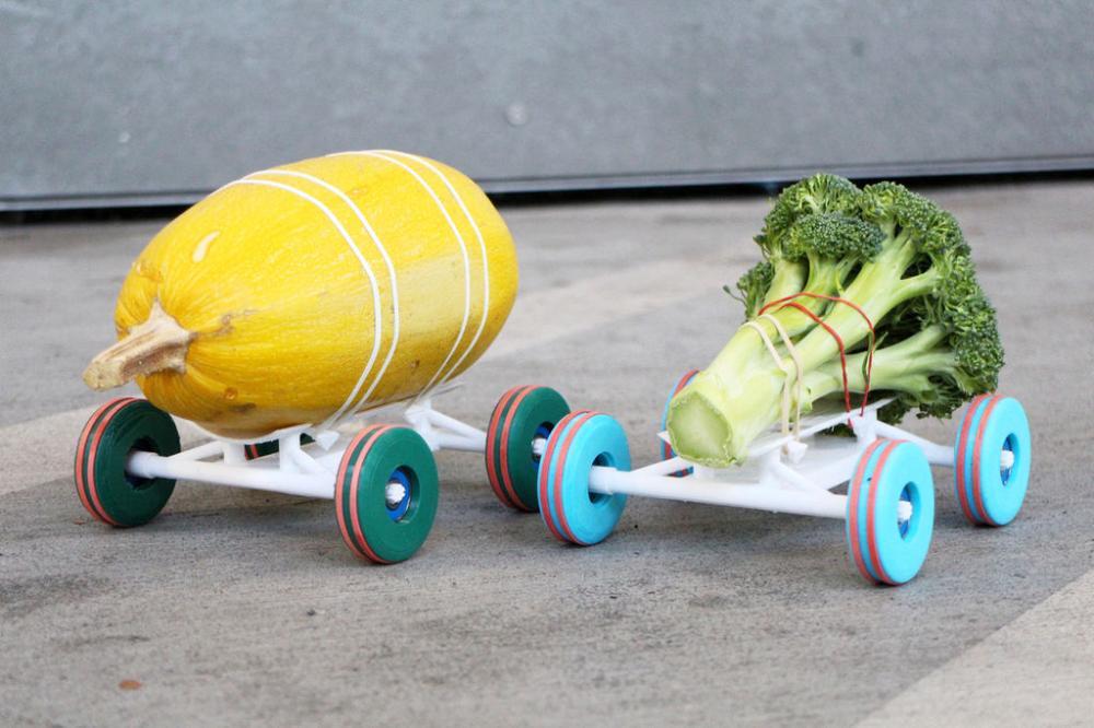 Овощные гонки, напчетанные на 3D-принтере