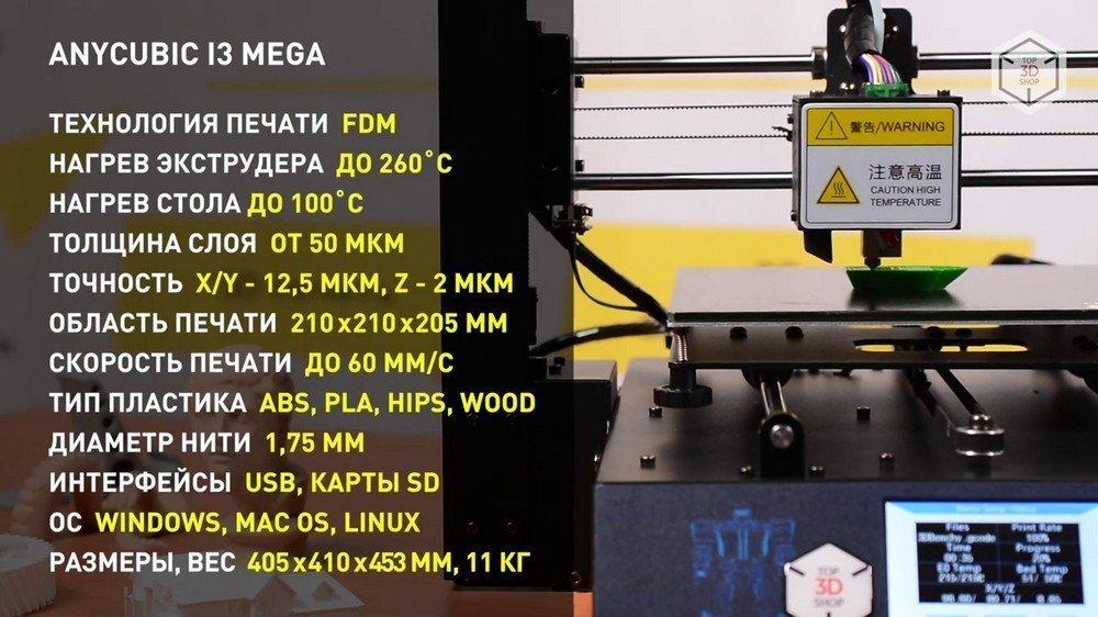 Характеристики 3D-принтера Anicubic I3 Mega
