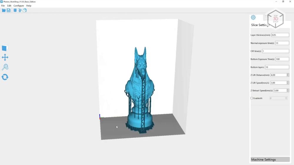 Для подготовки цифровых моделей к печати используется слайсер Photons Workshop