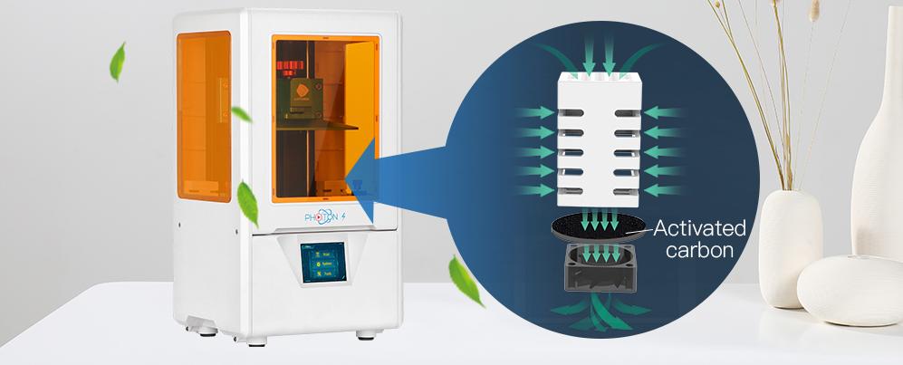 В Anycubic Photon S применяется усиленная фильтрация воздуха — двойной фильтр с активированным углем