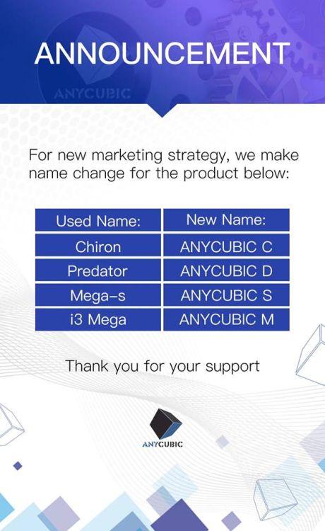 Anycubic Technology также объявила о переименовании модельного ряда своих 3D-принтеров