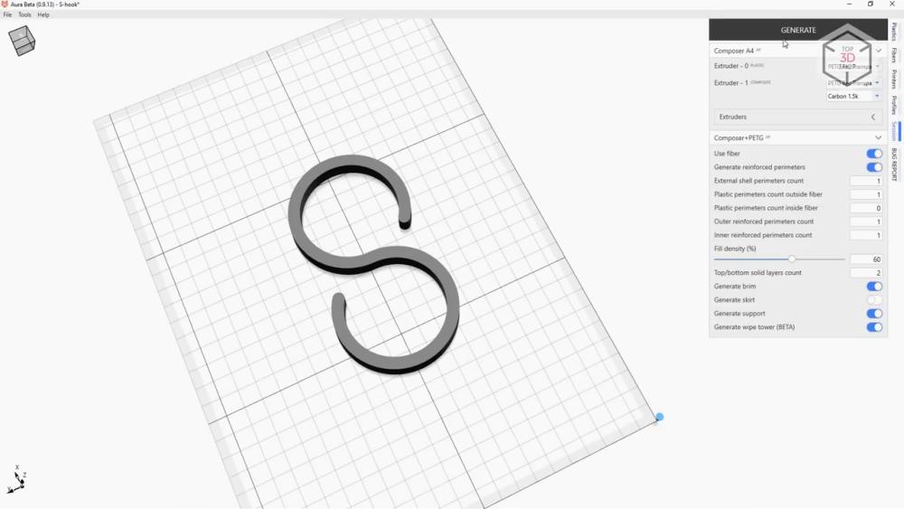 программное обеспечение Aura позволяет гибко настраивать печать внутренних и внешних элементов детали