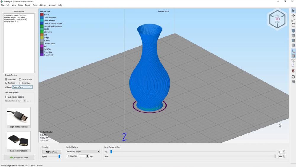 Подготовку, «нарезку» и отправку цифровых моделей на печать разработчик рекомендует выполнять с помощью Repetier-Host и Slic3r
