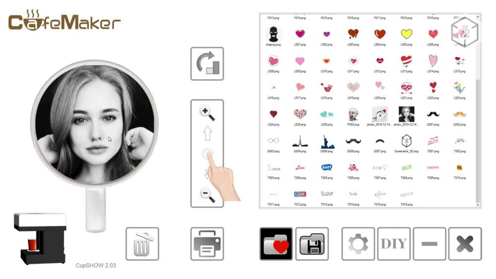 Программное обеспечение CupShow принтера Cafe Maker
