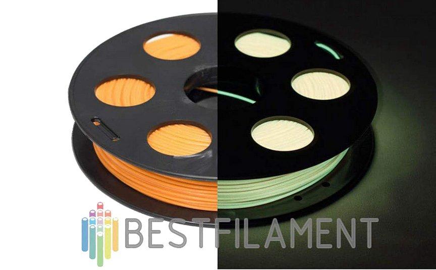PLA пластик BestFilament 1,75 0,5 кг Светящийся в темноте. Лимонный